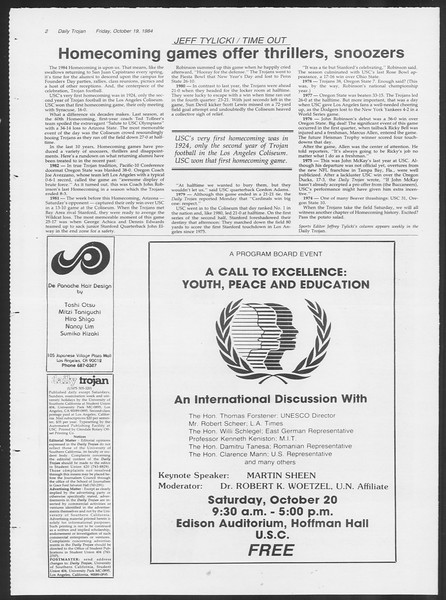 Daily Trojan, Vol. 97, No. 34, October 19, 1984