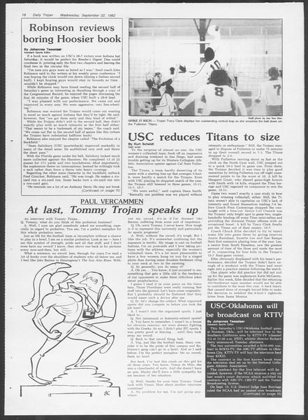 Daily Trojan, Vol. 92, No. 12, September 22, 1982