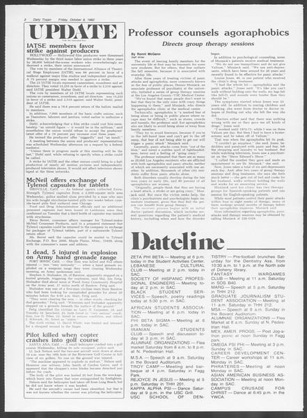 Daily Trojan, Vol. 92, No. 24, October 08, 1982