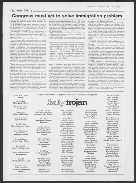 Daily Trojan, Vol. 102, No. 37, October 22, 1986