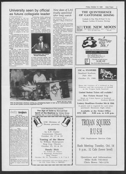 Daily Trojan, Vol. 102, No. 29, October 10, 1986