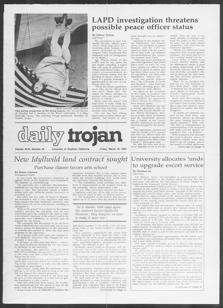 Daily Trojan, Vol. 93, No. 46, March 18, 1983