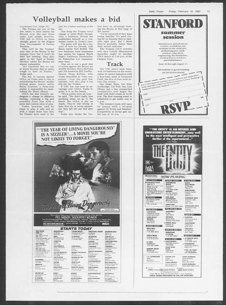 Daily Trojan, Vol. 93, No. 28, February 18, 1983