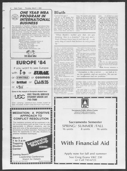 Daily Trojan, Vol. 95, No. 36, March 01, 1984