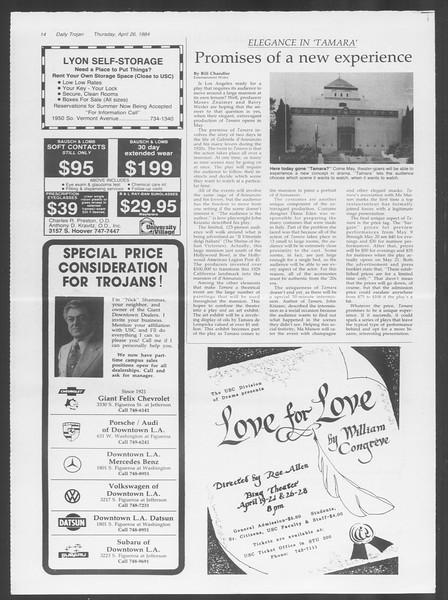 Daily Trojan, Vol. 95, No. 70, April 26, 1984