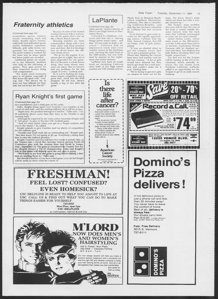 Daily Trojan, Vol. 97, No. 6, September 11, 1984