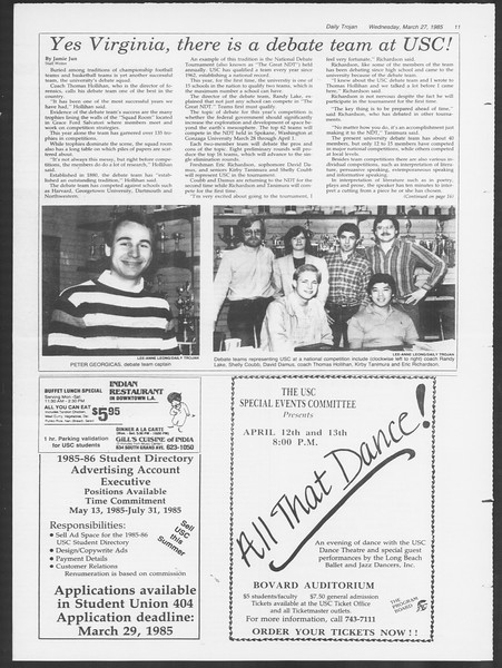 Daily Trojan, Vol. 98, No. 52, March 27, 1985