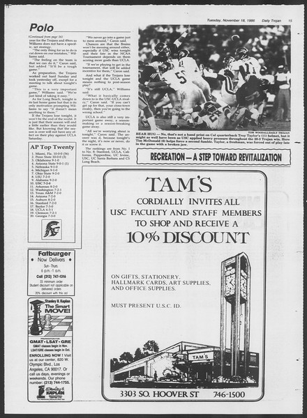 Daily Trojan, Vol. 102, No. 55, November 18, 1986