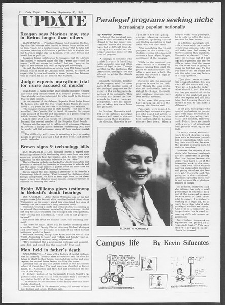 Daily Trojan, Vol. 92, No. 18, September 30, 1982