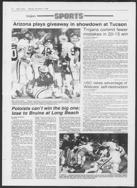Daily Trojan, Vol. 102, No. 44, November 03, 1986