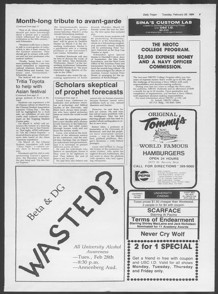 Daily Trojan, Vol. 95, No. 34, February 28, 1984