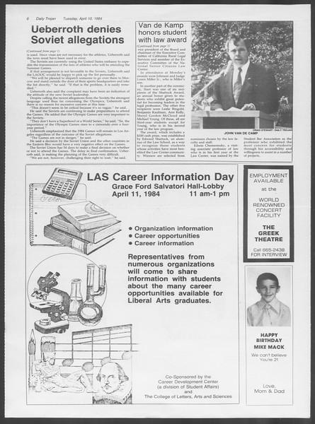 Daily Trojan, Vol. 95, No. 58, April 10, 1984
