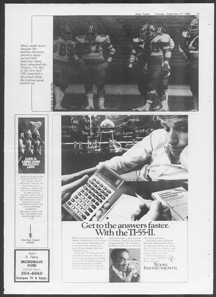 Daily Trojan, Vol. 92, No. 11, September 21, 1982