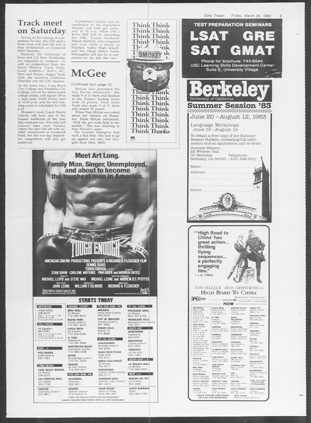 Daily Trojan, Vol. 93, No. 51, March 25, 1983