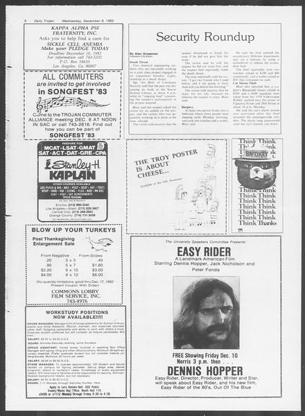 Daily Trojan, Vol. 92, No. 61, December 08, 1982
