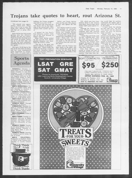 Daily Trojan, Vol. 93, No. 24, February 14, 1983
