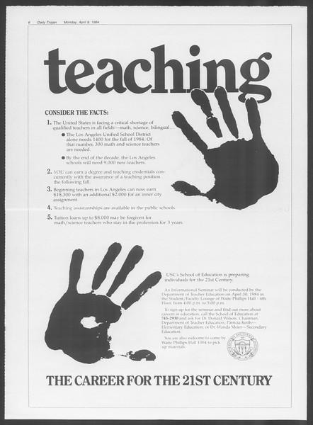 Daily Trojan, Vol. 95, No. 57, April 09, 1984