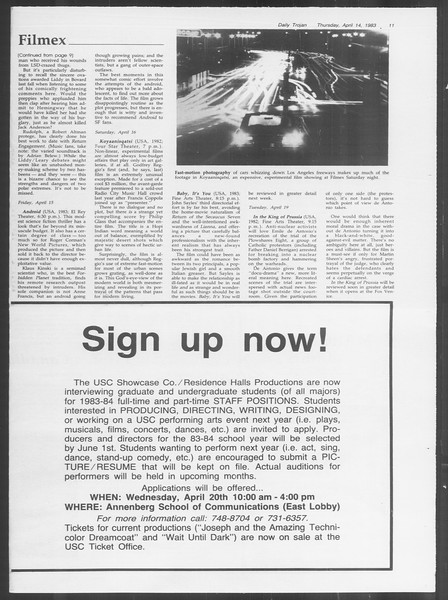 Daily Trojan, Vol. 93, No. 58, April 14, 1983