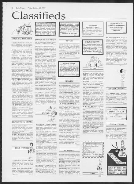 Daily Trojan, Vol. 97, No. 39, October 26, 1984