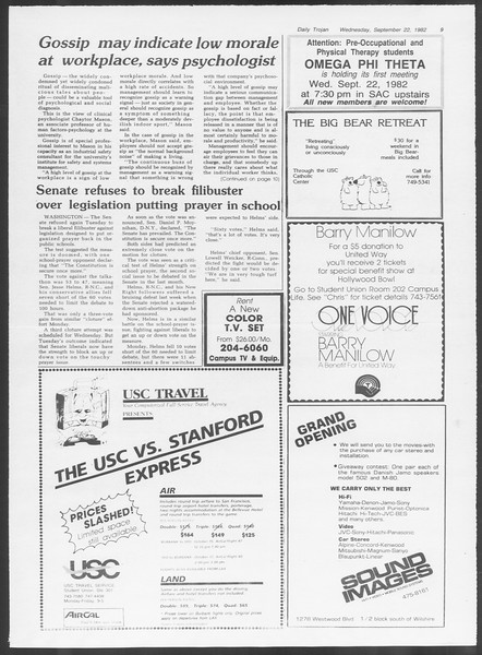 Daily Trojan, Vol. 92, No. 12, September 22, 1982