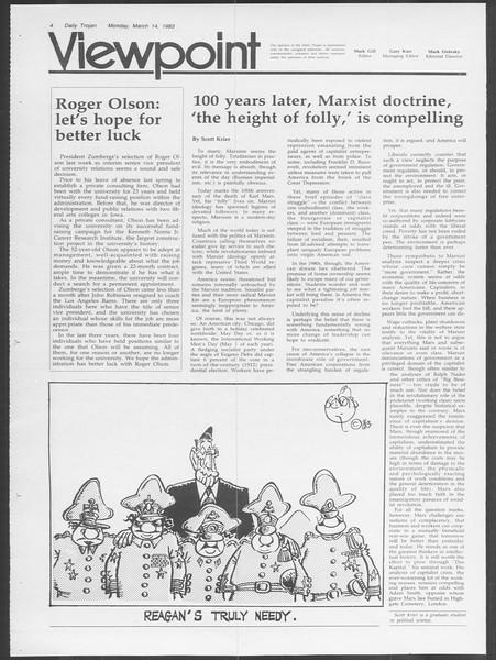 Daily Trojan, Vol. 93, No. 42, March 14, 1983