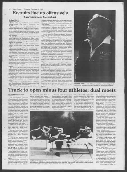 Daily Trojan, Vol. 91, No. 25, February 18, 1982