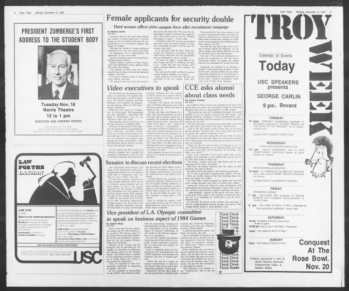 Daily Trojan, Vol. 92, No. 49, November 15, 1982