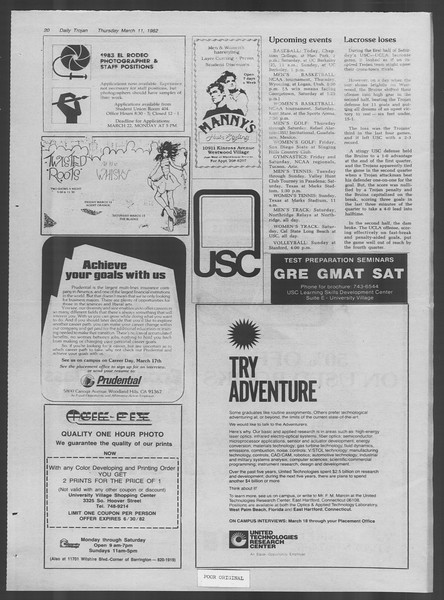 Daily Trojan, Vol. 91, No. 40, March 11, 1982