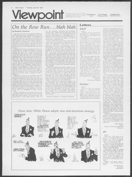 Daily Trojan, Vol. 95, No. 68, April 24, 1984