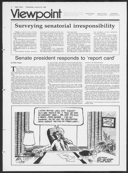 Daily Trojan, Vol. 98, No. 14, January 30, 1985