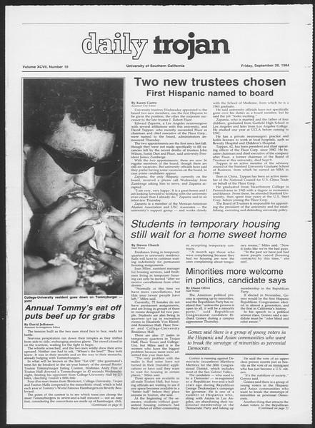 Daily Trojan, Vol. 97, No. 19, September 28, 1984