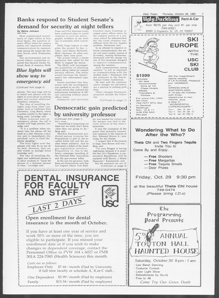 Daily Trojan, Vol. 92, No. 37, October 28, 1982