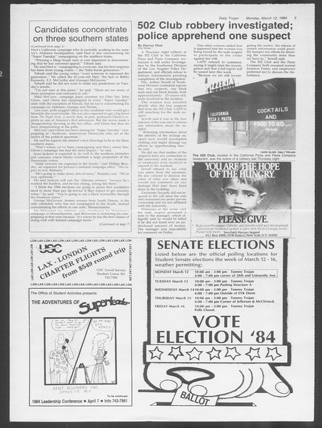 Daily Trojan, Vol. 95, No. 43, March 12, 1984
