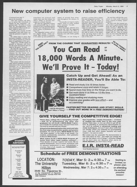 Daily Trojan, Vol. 95, No. 38, March 05, 1984