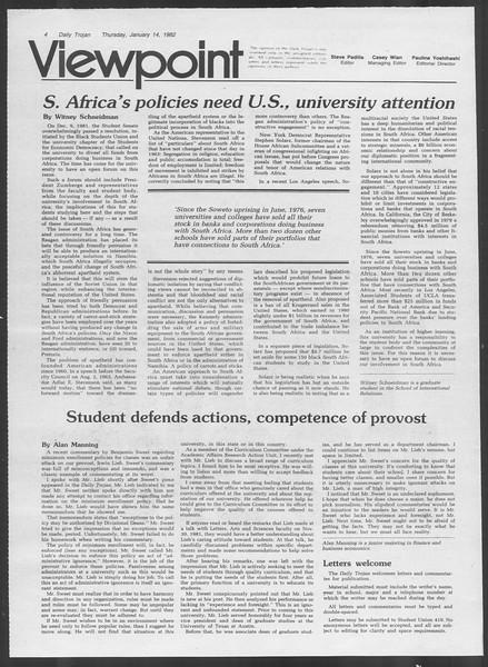 Daily Trojan, Vol. 91, No. 3, January 14, 1982