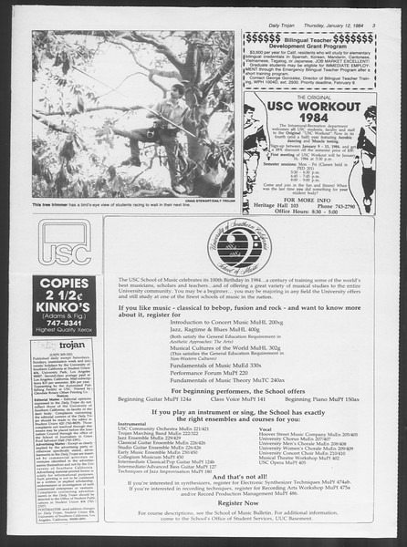 Daily Trojan, Vol. 95, No. 3, January 12, 1984