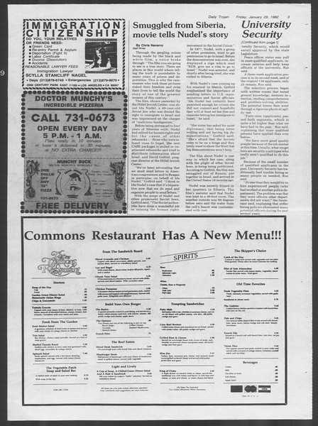 Daily Trojan, Vol. 91, No. 14, January 29, 1982