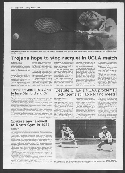 Daily Trojan, Vol. 95, No. 66, April 20, 1984
