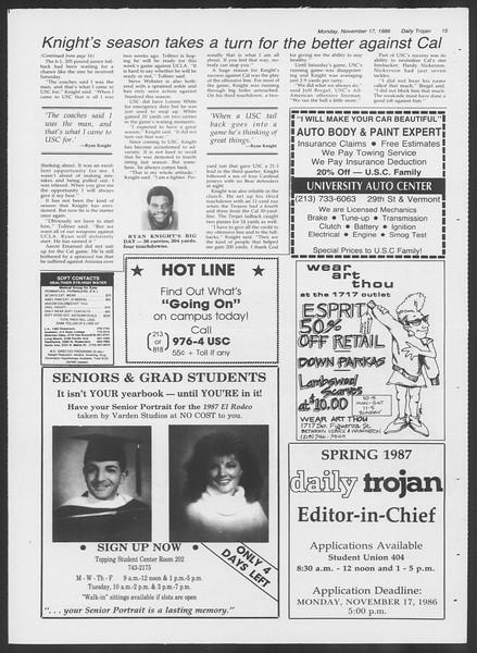 Daily Trojan, Vol. 102, No. 54, November 17, 1986