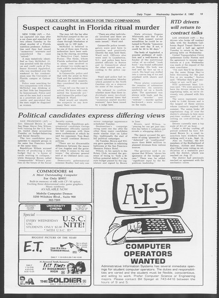 Daily Trojan, Vol. 92, No. 2, September 08, 1982