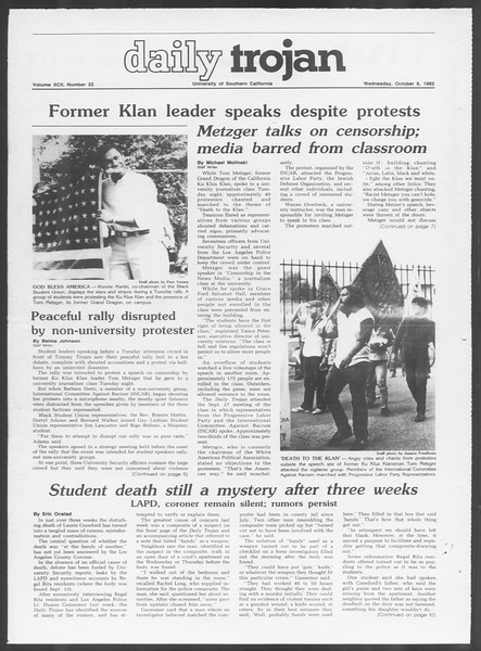 Daily Trojan, Vol. 92, No. 22, October 06, 1982