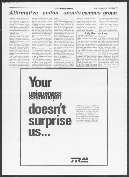UCLA Daily Bruin, Vol. 92, No. 53, November 19, 1982