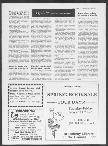 Daily Trojan, Vol. 95, No. 49, March 20, 1984