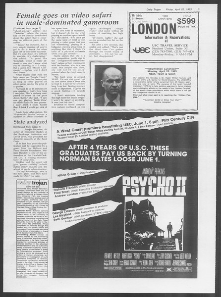 Daily Trojan, Vol. 93, No. 64, April 22, 1983