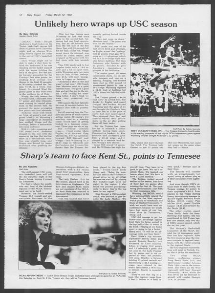 Daily Trojan, Vol. 91, No. 41, March 12, 1982