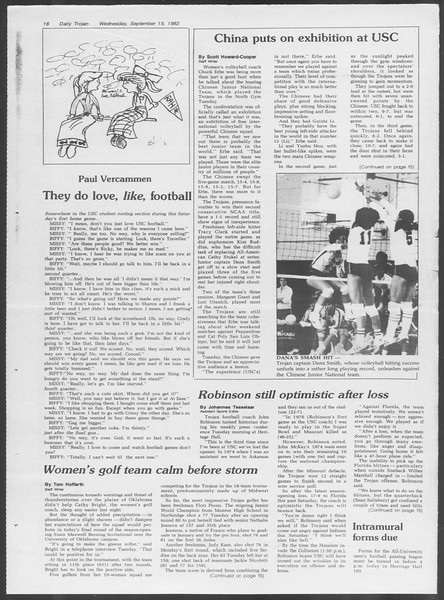 Daily Trojan, Vol. 92, No. 7, September 15, 1982