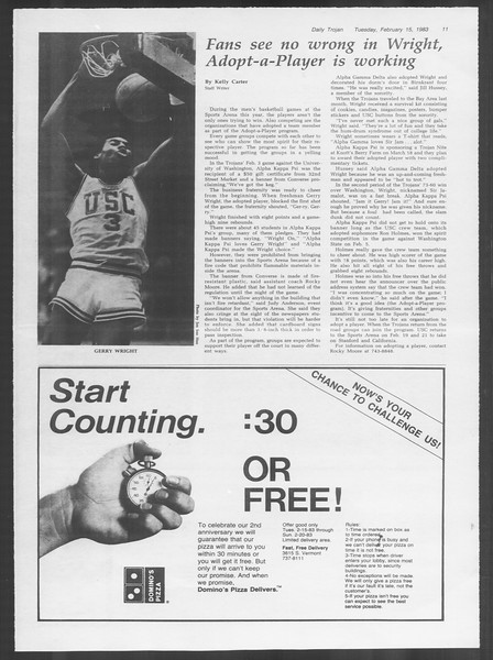 Daily Trojan, Vol. 93, No. 25, February 15, 1983