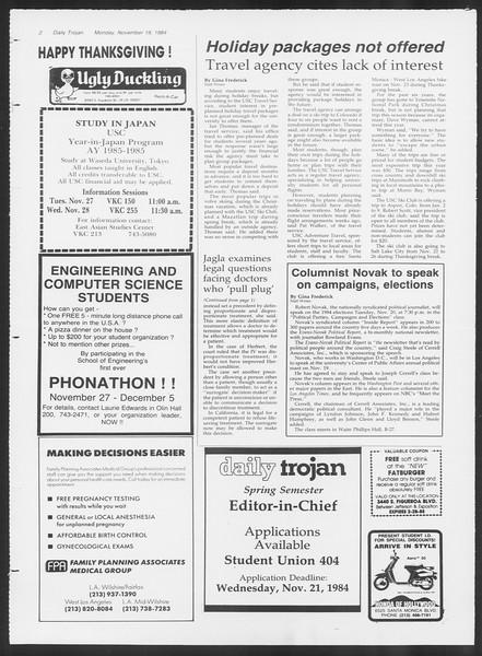 Daily Trojan, Vol. 97, No. 54, November 19, 1984