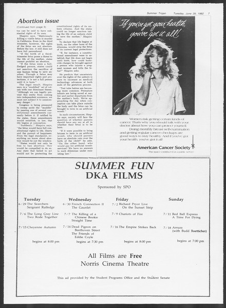 Summer Trojan, Vol. 91, No. 10, June 29, 1982