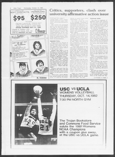 Daily Trojan, Vol. 92, No. 27, October 13, 1982